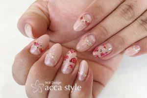 小花柄 nail